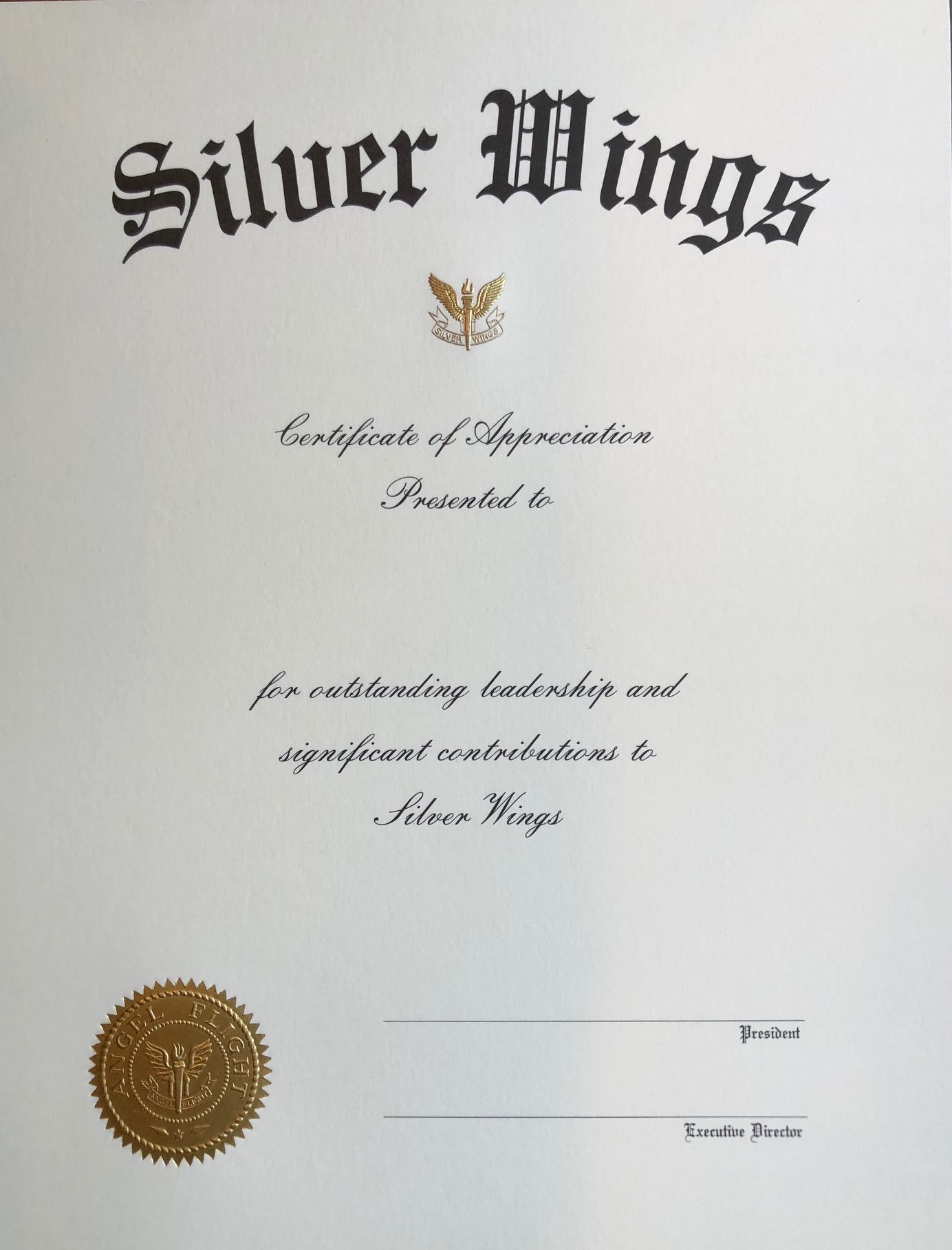 Sw Appreciation Certificate Arnold Air Society Silver Wings