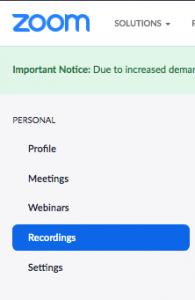 Recordings tab in zoom