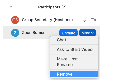 Remove participants