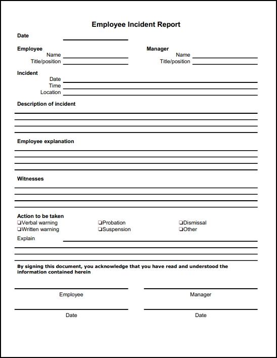 employee incident report form free download online