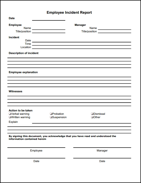 Employee Incident Report Form  Incident Report Form Template Word