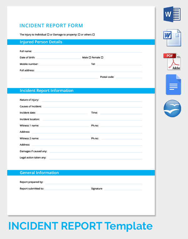 Incident Report Forms  Incident Report Template Free