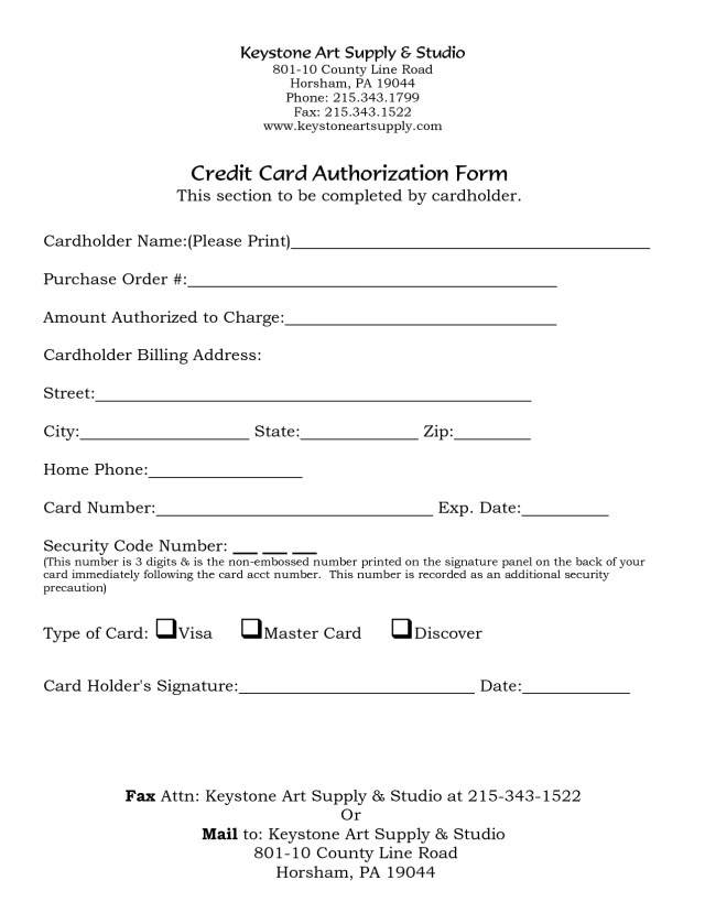 Credit Card Authorization Letter  BesikEightyCo