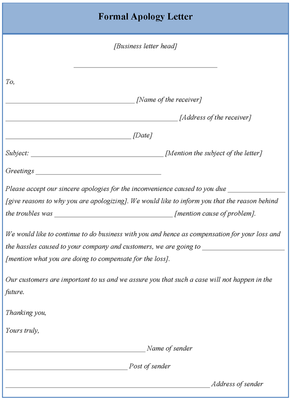Apology letter format free download apology expocarfo Choice Image
