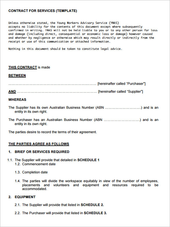 Simple Service Contract Template FREE DOWNLOAD