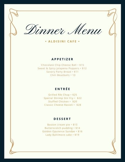free menu templates download