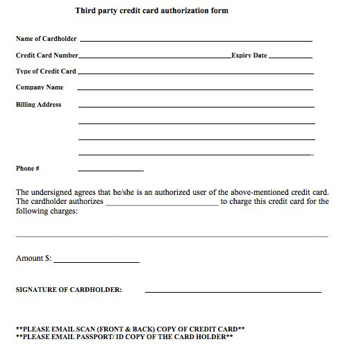 payment authorization form