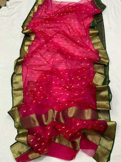 Rose Pink zari Organza silk saree