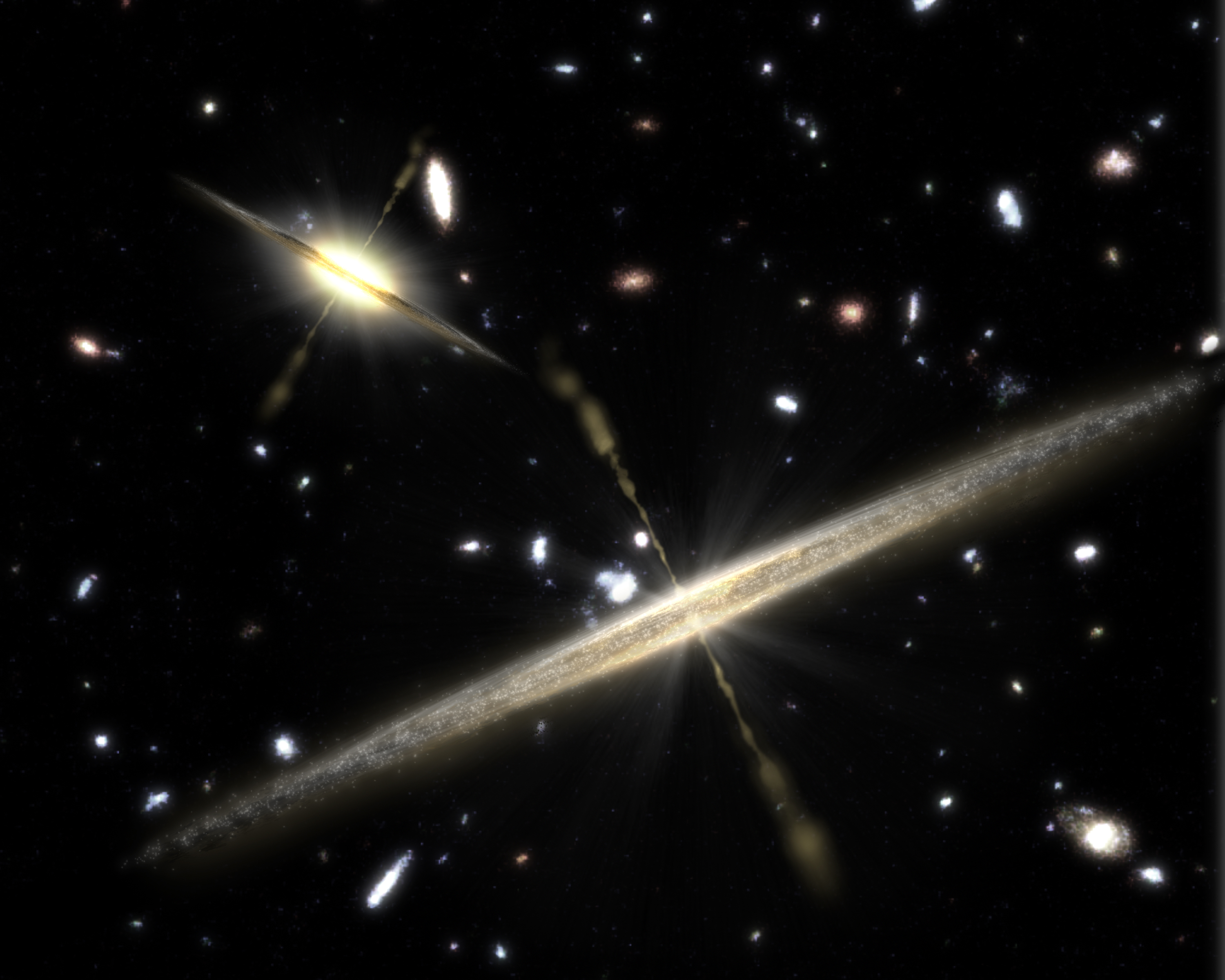 Artist's impression of two different kinds of galaxies: one with a central bulge (top left), and one bulgeless, pure disk galaxy (center). A new study examines how pure disk galaxies form and evolve. [NASA/JPL-Caltech]