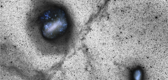 Wide-field (39° × 27°) luminance filter image with color insets of the Magellanic System. The LMC is located near the top left and the SMC is near the bottom right (click for the full view!). [Besla et al. 2016]