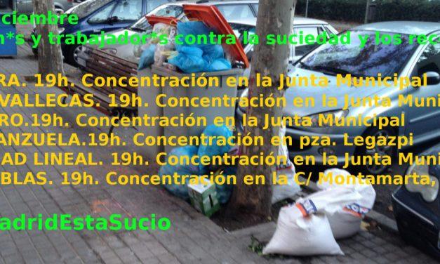 18D: las asociaciones vecinales y los trabajadores de la limpieza de Madrid se movilizan contra la suciedad y los recortes