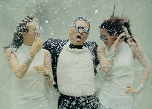 PSY and fake snow.