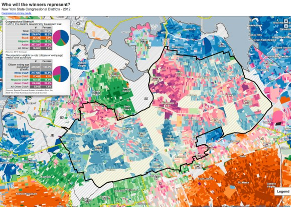 Demographic map of newly drawn Congressional District 6, which elected Grace Meng on Nov. 6, 2012. Source: Center for Urban Research, The Graduate Center of the City University of New York