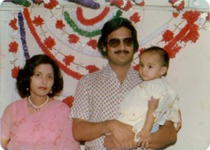 The writer celebrates her birthday with her mother and father, Suboohi and Nasim Choudhry.