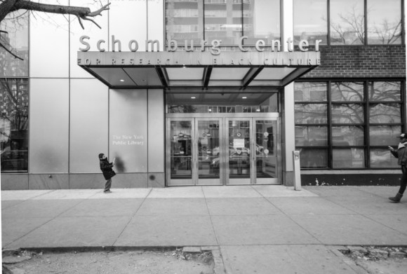 The Schomburg Center is a historic institution of American culture and Black history. This history, Dr. Muhammad explained, includes the complicated racial politics of Stop and Frisk practices. Photo by Thomas L. Mariadason.