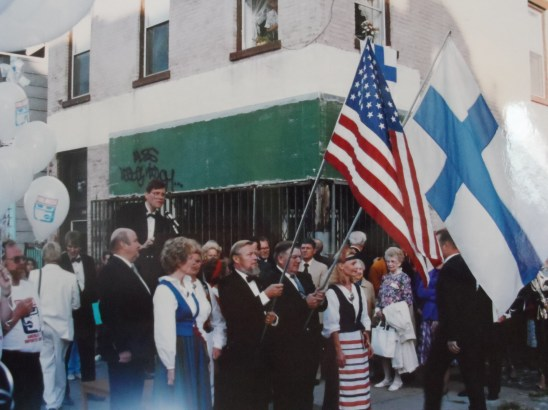 Caption: Robert Saasto and others at the dedication of Finlandia Street in 1991. Photo credit: Robert Saasto.