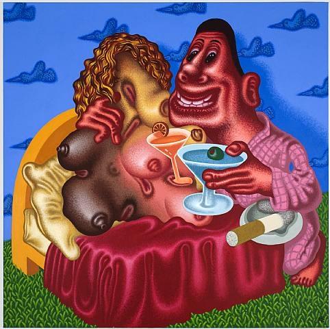 "Peter Saul. ""Viva La Difference."" 2008. Acrylic on Canvas. 72x72. David Nolan Gallery."
