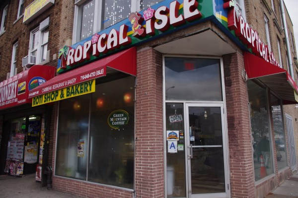Tropical themes abound inside Tropical Isle Roti Shop.