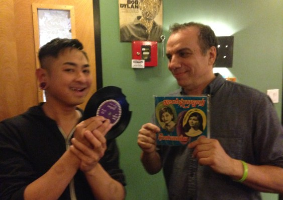 Nate Hun and John Perrozi in WFMU's studio, Jersey City, NJ. Photo by Gary Sullivan.