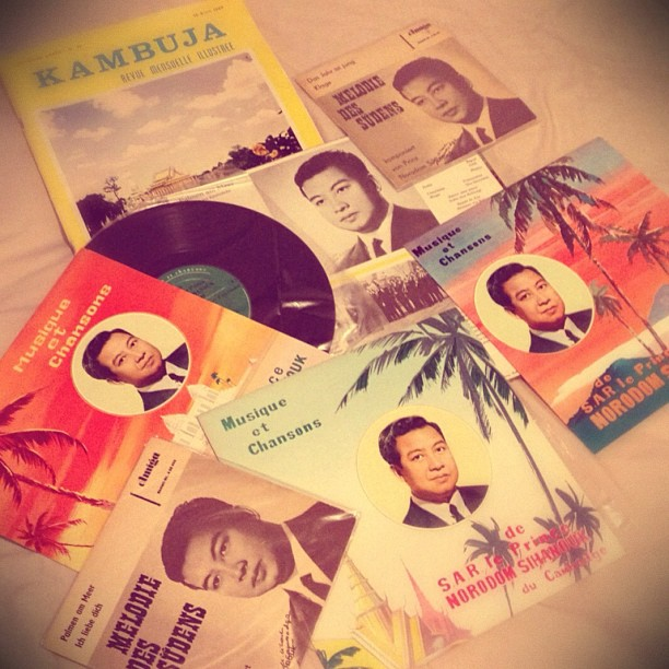 Nate Hun's collection includes multiple album covers featuring images of King Sihanouk.
