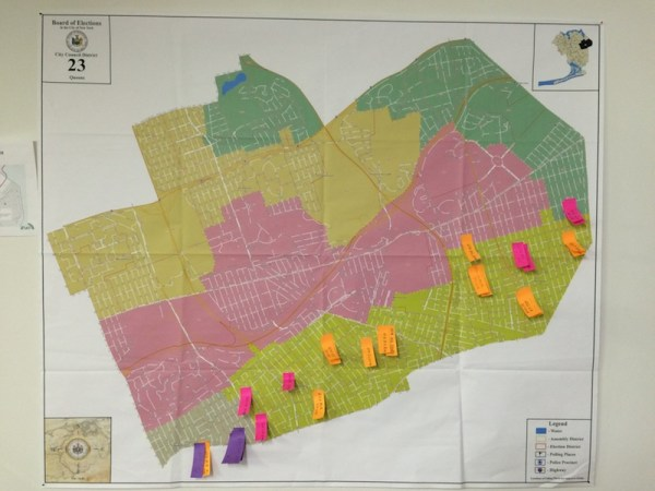 A huge map of the 23rd City Council district is the focal point of Ali Najmi's campaign office. The Post-Its represent the neighborhoods where his campaign has knocked on doors to collect petition signatures so far.