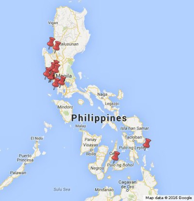 Red pins show some of the largest U.S. military facilities in the Philippines.