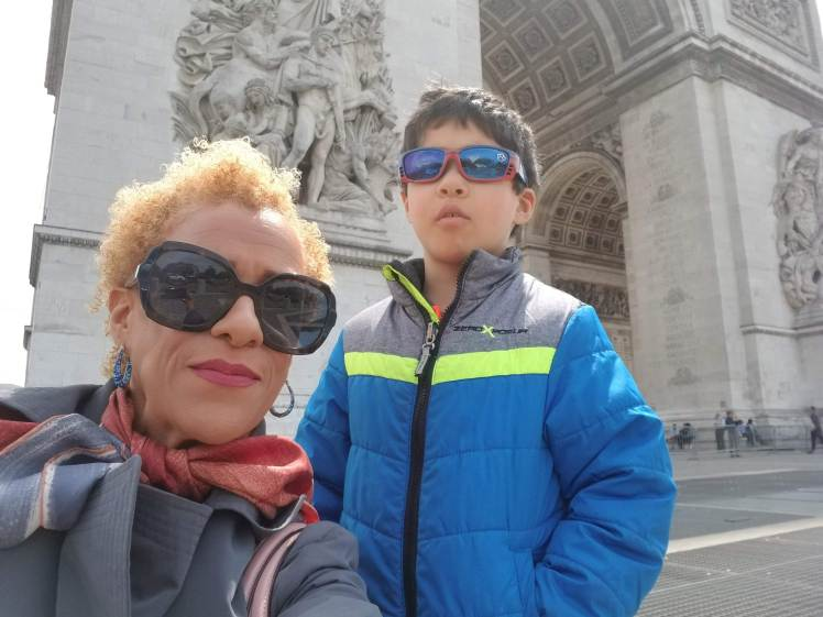 In front of Arc d'Triomphe with my son Paris May 2019