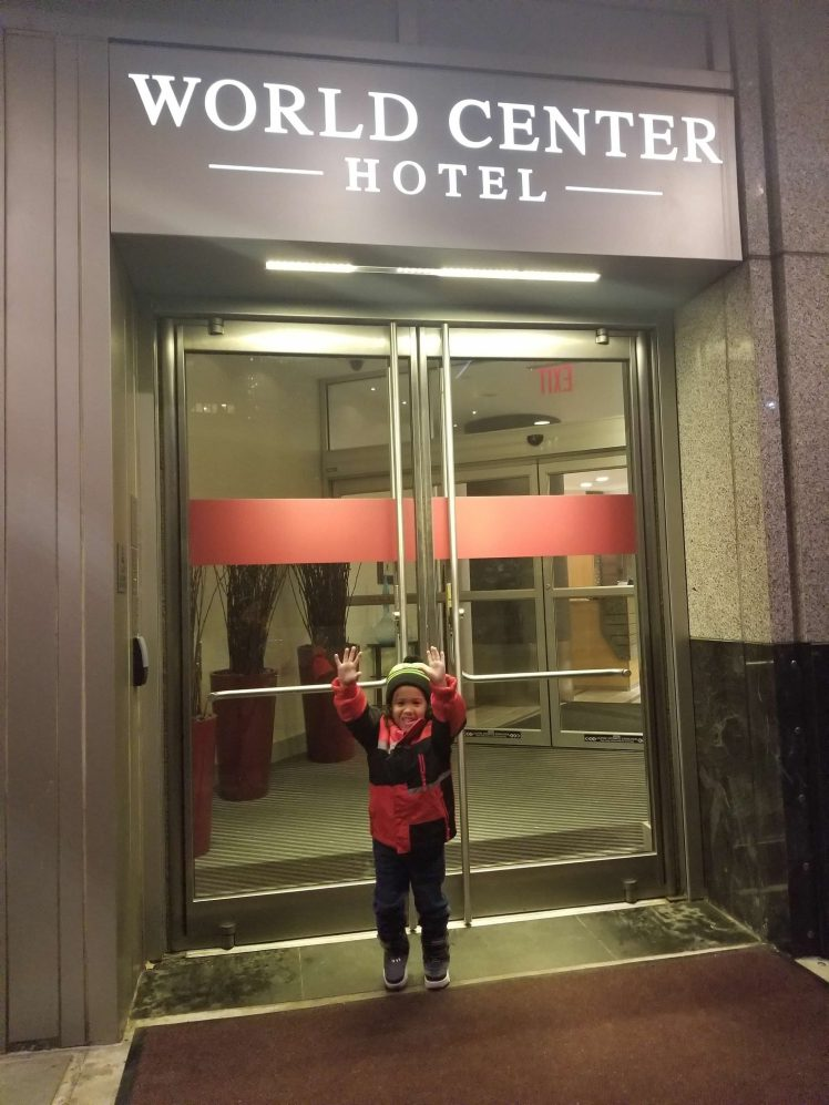 Photo-of-Xavier-in-front of our hotel - World Trade Center Hotel New-York Christmastime 2018