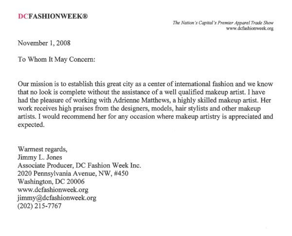 DC Fashion Week Letter of Recommendation