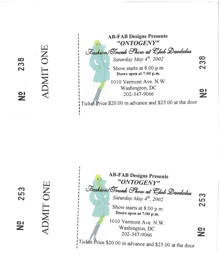 Ontogeny Fashion Show Tickets
