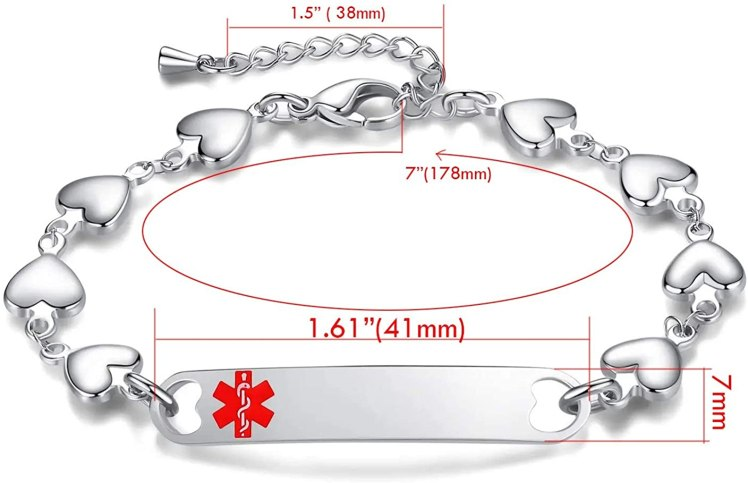 mnmoom Heart Personalized Adjustable Medical ID Bracelet