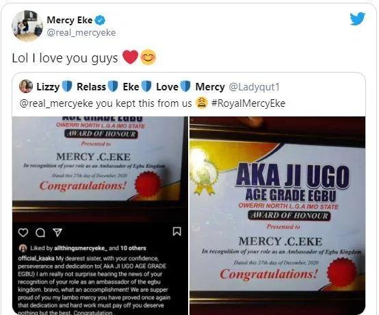 The BBNaija Star, Mercy Eke, has been named ambassador to the Egbu Kingdom of Imo State.