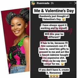 Ifu Ennada shares her intentions to recruit someone's son to Be her Valentine If she gets no boyfriend on or before 14th