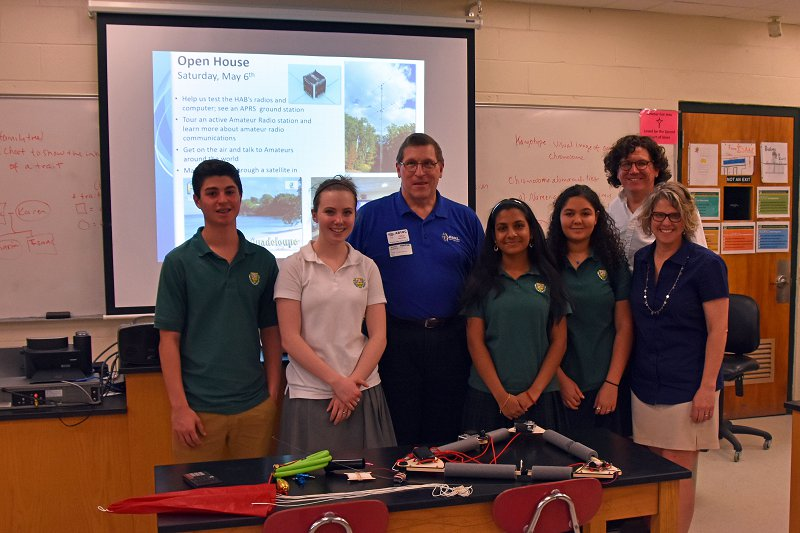 Fred, AB1OC with Students at Bishop-Guertin H.S. as they prepare to Launch a High-Altitude Balloon