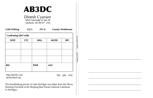 AB3DC QSL Card Back