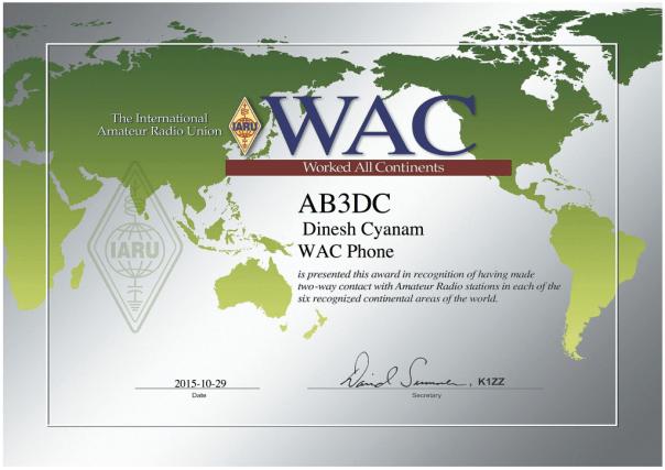 IARU WAC Award