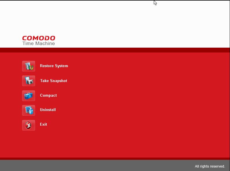 Интерактивная консоль Comodo Time Machine