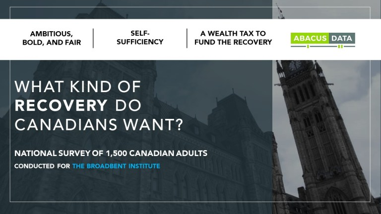Canadians want a recovery that is ambitious, fair, and makes the country more self-sufficient.