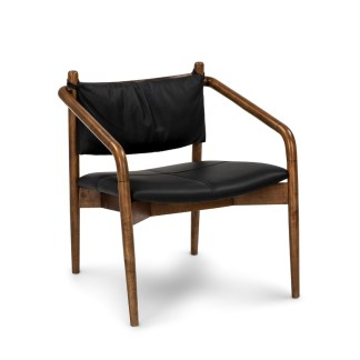 Lento Black Leather Lounge Chair