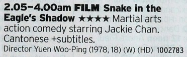 Film4 - And when you've finished with the scifi you can watch Jackie Chan kick people in the face!