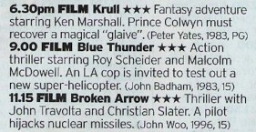 Now, Moviemix isn't a channel that gets talked up much but on this evidence it needs to be; Krull? Blue Thunder? Broken Arrow? Everyone of these is a winner