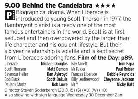 2100 - BBC2- Great film about Liberace, with a great turn from Douglas more than matched by Damon