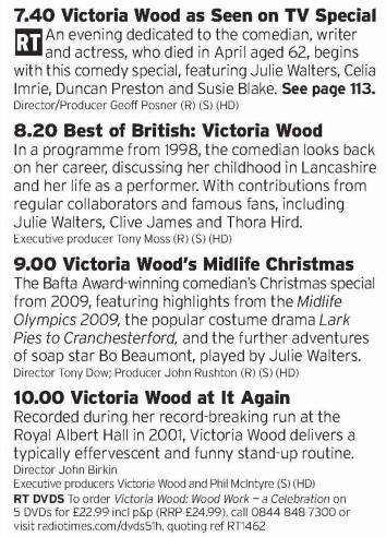 1940 - BBC2 - 2016 has been a shit year, mainly thanks to beloved famous people dying left right and centre. One of these was Victoria Wood, which is why we have this run of shows looking back at her career, probably worth it for the clips alone