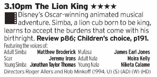 1510 - ITV1 - Disney *ahem* had roared back to life in the 90s which peaked with this film, with some great songs and great animation