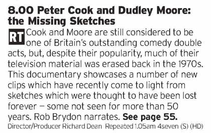 2000 - Channel 4 - Missing sketches from comedy legends? Even if they don't quite work anymore this will still be worth a watch