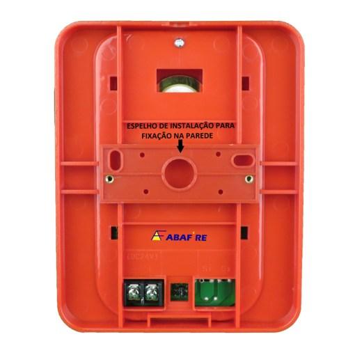 Sirene Audiovisual de Alarme de Incêndio Tensão de 24V com Flashes de Xenon e Alerta Sonoro com 03 Tipos de Toques código AFSX - Imagem 04