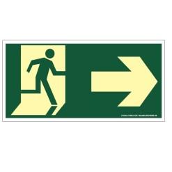 Placa de Sinalização Fotoluminescente de Rota de Fuga e Evacuação Tipo Vire a Direita com Boneco e Seta, código AFS2D