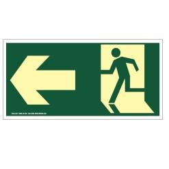 Placa de Sinalização Fotoluminescente de Rota de Fuga e Evacuação Tipo Vire a Esquerda com Boneco e Seta, código AFS2E