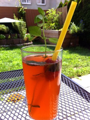 The end result - strawberry/mint/vodka lemonade! An adult beverage perfect for an evening cool-down.