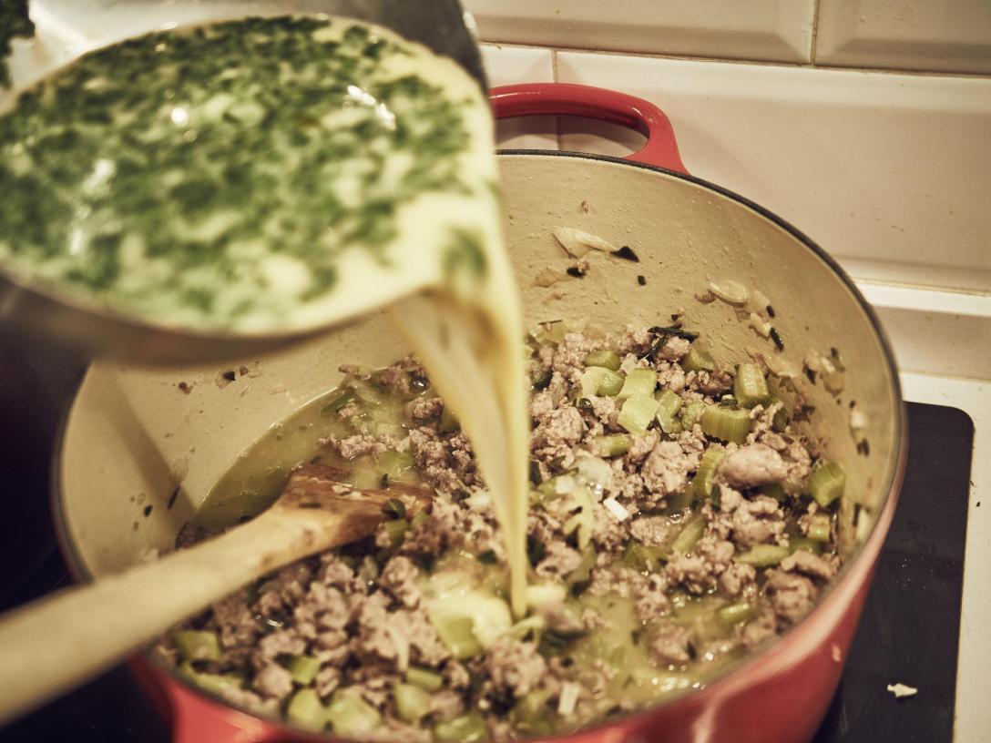 caldo stuffing Le Creuset